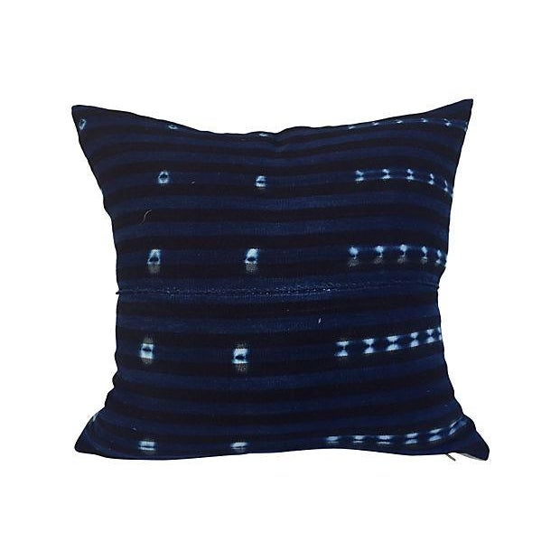 African Indigo Striped Pillows - A Pair - Image 5 of 6