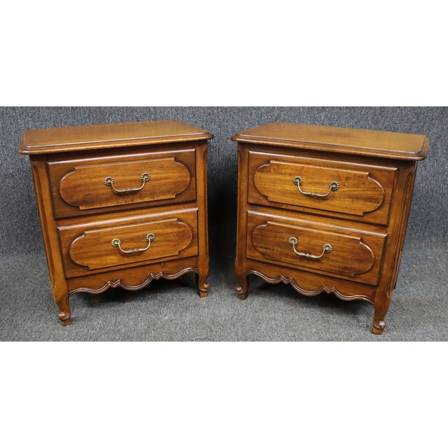 Wood Louis XV Style Fruitwood Nightstands- a Pair For Sale - Image 7 of 7