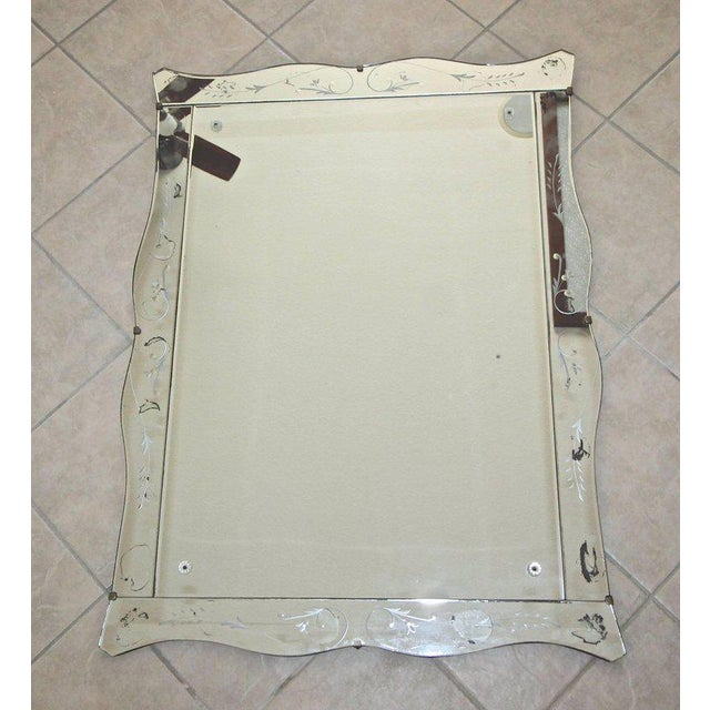 1930s Art Deco Scalloped Etched Wall Mirror For Sale - Image 10 of 11