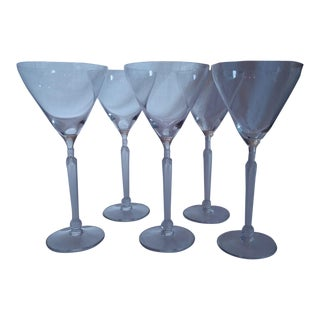 Lalique-Ish Martini Glasses With Sainted Stem - Set of 5 For Sale
