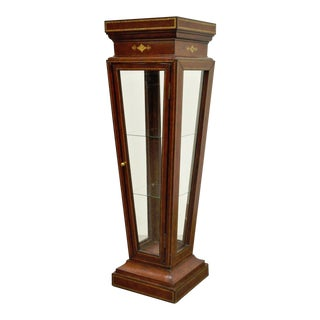 Burgundy Tooled Leather Glass Display Case Curio Stand Pedestal Maitland Smith For Sale