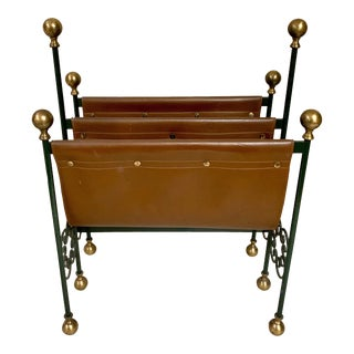 Campaign Style Leather Magazine Rack For Sale