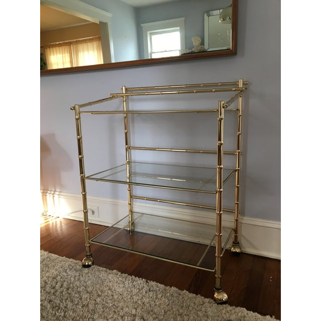 Hollywood Regency Faux Bamboo Brass Bar Cart - Image 5 of 5