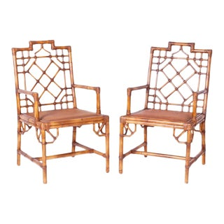 Chinese Chippendale Arm Chairs - a Pair For Sale