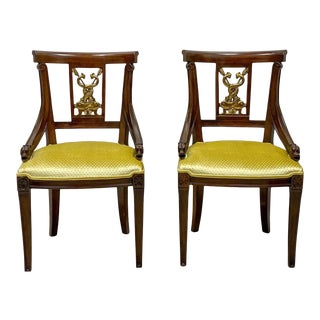 Neoclassical Style Mahogany and Gilt Chairs Att. To Baker Furniture - Pair