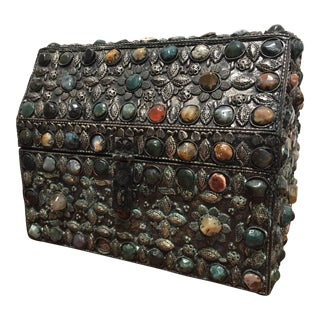 Large Moroccan Wedding Silvered Jewelry Box Inlaid With Semi-Precious Stones For Sale