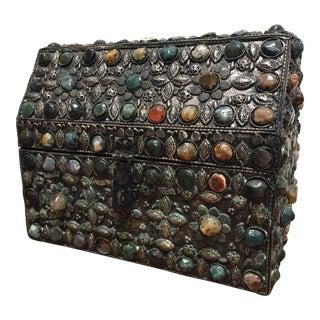 Large Moroccan Wedding Silvered Jewelry Box Inlaid With Semi-Precious Stones