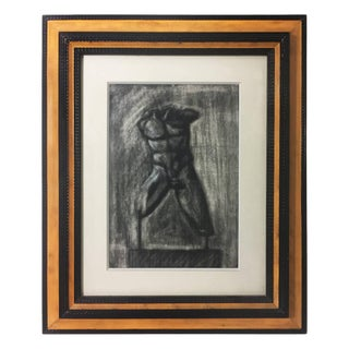Charcoal Drawing of Male Torso For Sale