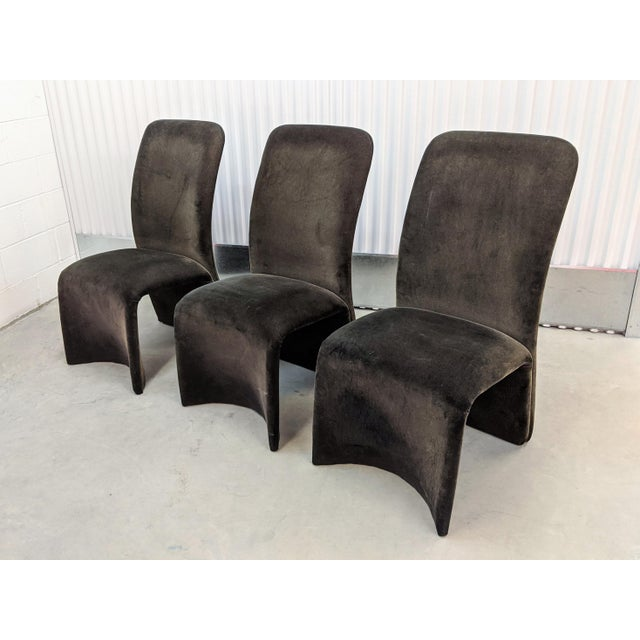 Set of 3 Modernist sculptural velvet dining chairs in dark ash velvet from a non-smoking and pet-free home.