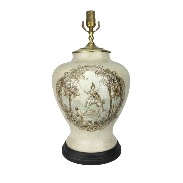 20th Century French Hand-Painted Table Lamp For Sale