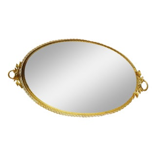 Gold Filigree Oval Mirror Vanity Tray For Sale