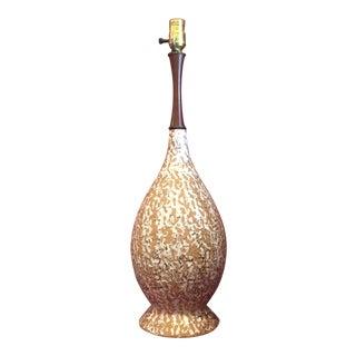 1960s Brutalist Gold Splatter Lava Pottery Lamp
