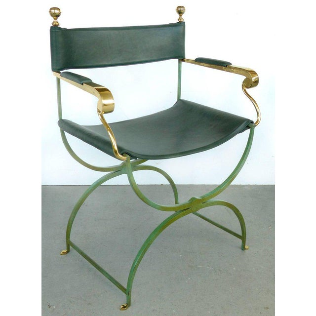 Neoclassical Pair of Brass Director's Chairs by Valenti, Spain For Sale - Image 3 of 11