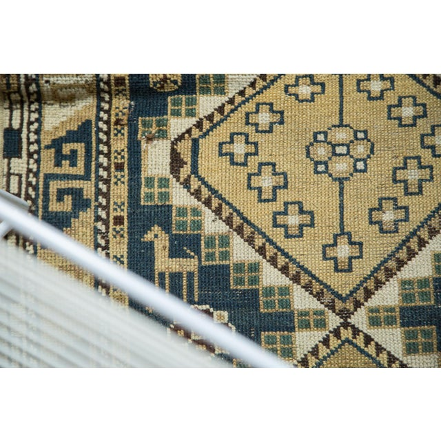 "Vintage Fragmented Caucasian Square Rug - 3'9"" x 4'8"" - Image 5 of 7"