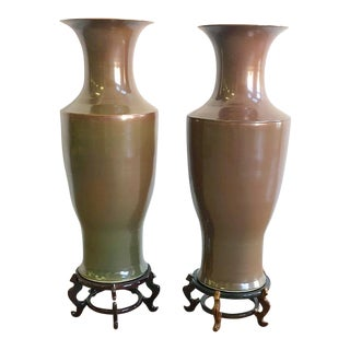 Over Scaled Brown Chinoiserie Ginger Jars With Wooden Bases
