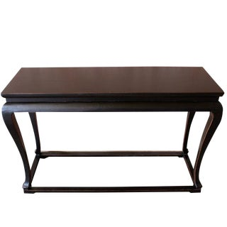 Antique Black Plywood Cabriole Console Table For Sale