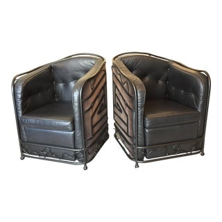 Custom Art Deco Wrought Iron & Leather Cube Chairs - A Pair