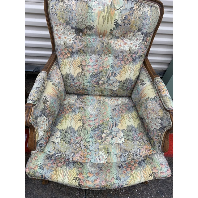 Antique Floral Wingback Chairs - a Pair For Sale - Image 4 of 6