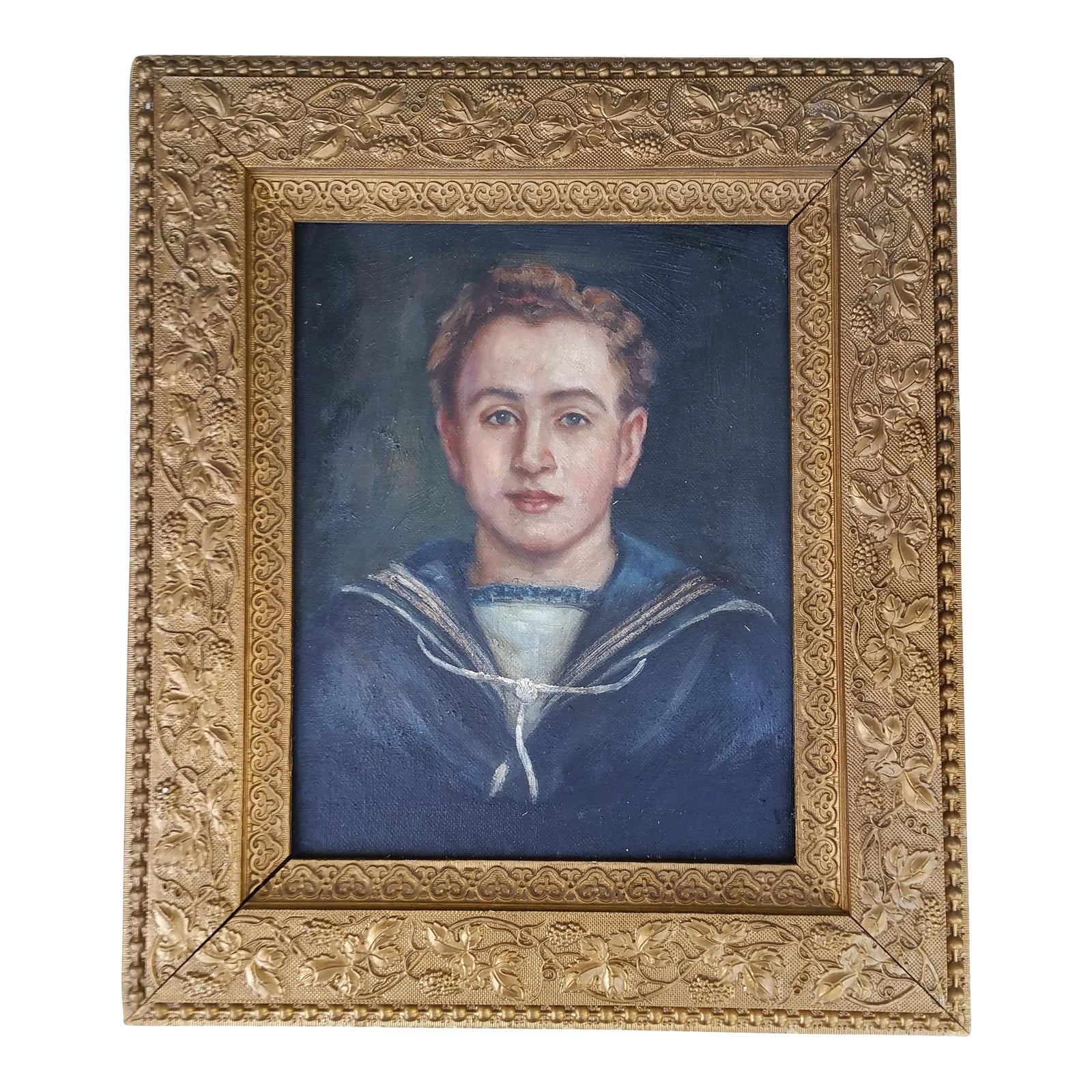 Vintage French Sailor Boy Painting Chairish