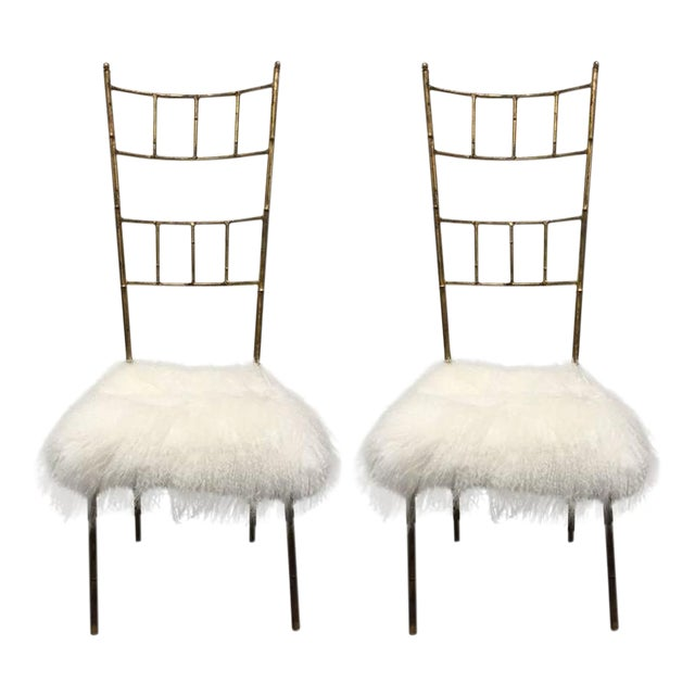 Tall Gold Gilt Gio Ponti Style Chairs with Long Haired Sheep Fur For Sale