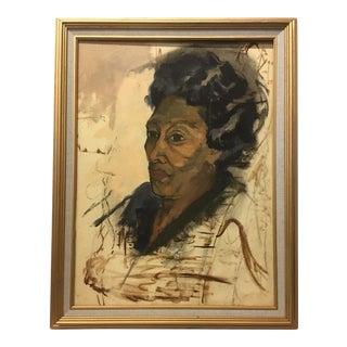 Vintage Mid-Century Portrait Oil Painting by Dolores Pharr Smith (D'Pharr), Framed For Sale