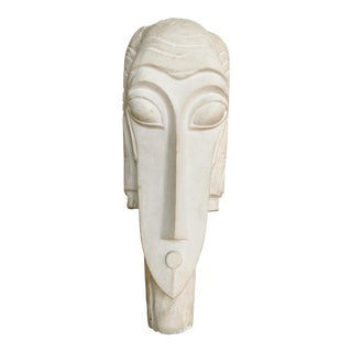 Modigliani Styled, Carved Stone Female Bust on Stand, Vintage For Sale