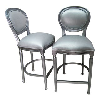 Modern Contemporary Modern Silver Faux Leather Stools- A Pair For Sale