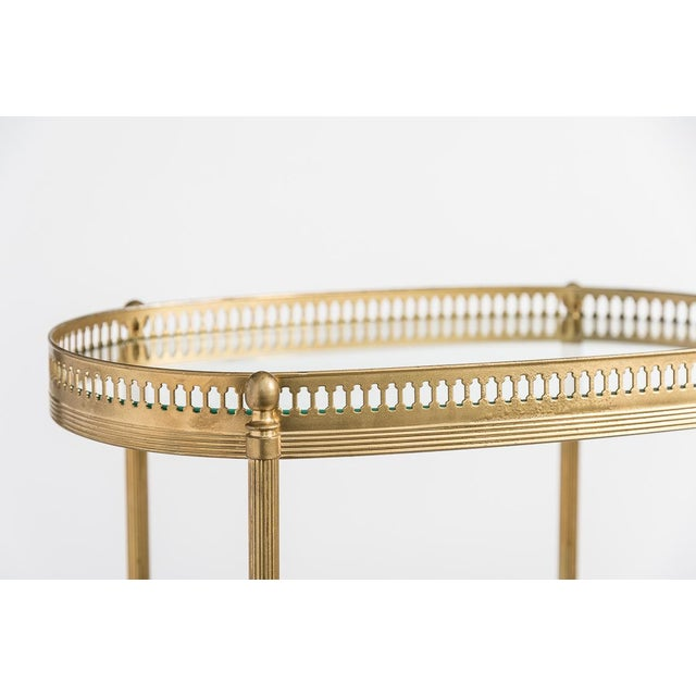 French Brass Two Tiers Petite Gallery Table After Maison Jansen C.1970 For Sale In West Palm - Image 6 of 10