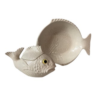 White Fish Lidded Bowl & Dish - A Pair For Sale