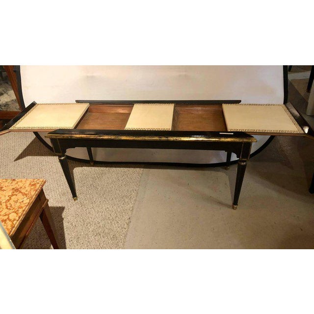 Ebonized Jansen Style Coffee Table With a Greek Key Design and Leather Top For Sale - Image 9 of 13