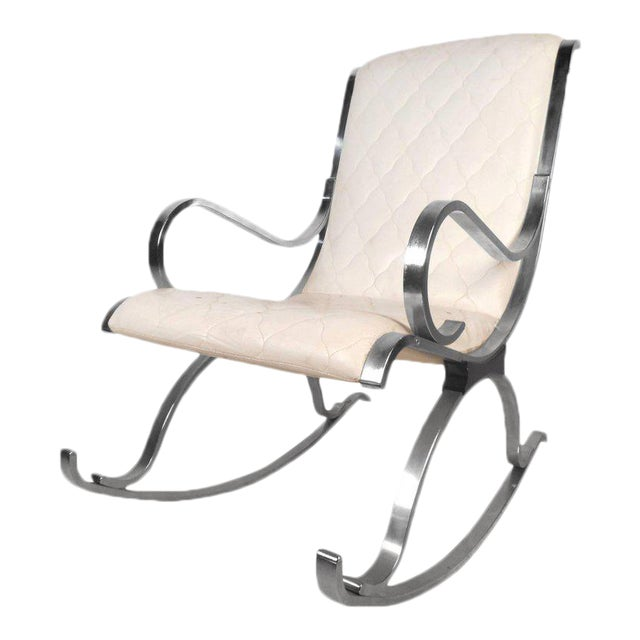 Prime Vintage Modern White Leather And Chrome Rocking Chair Bralicious Painted Fabric Chair Ideas Braliciousco