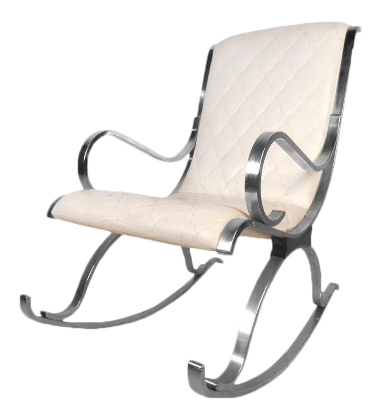 Vintage Modern White Leather And Chrome Rocking Chair