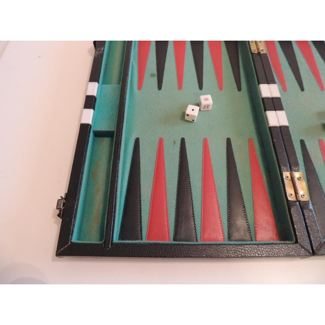 "Vintage Black, Green and White Backgammon Game Includes all in the picture. Size: 15.5""D x 20.5""L x 1""H"