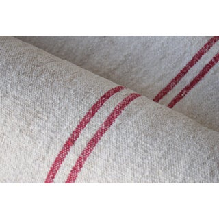 Antique Homespun Red Striped Linen Grain Sack Fabric By The Yard For Sale
