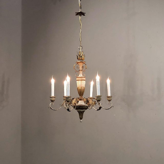 1900 - 1909 Antique Italian Hand Painted Wood and Iron Chandelier For Sale - Image 5 of 7