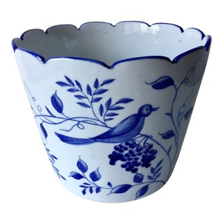Vintage Hand-Painted Ceramic Cachepot For Sale