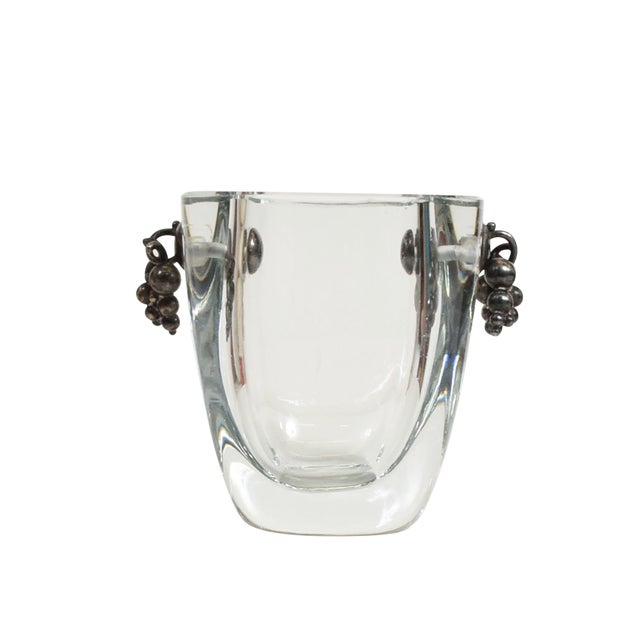 Beautiful Strombergshyttan Thick Glass Vase With Silver Grapevine Accents For Sale
