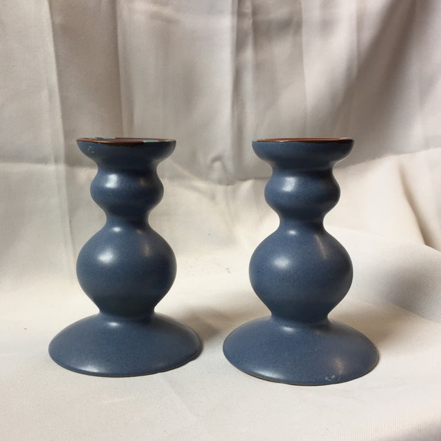 Dansk Curvy Ceramic Candlestick Holders- A Pair - Image 2 of 10