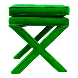 Mid-Century Billy Baldwin Style Green Upholstered X-Bench For Sale
