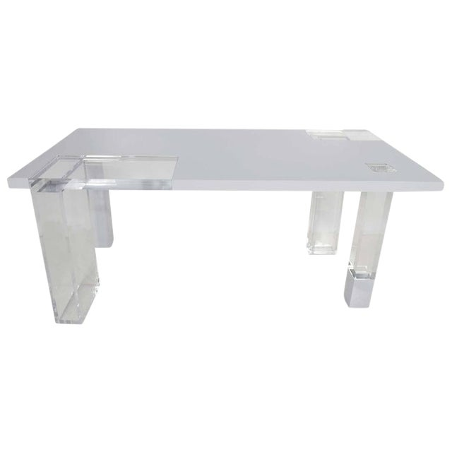 Contemporary Lucite & White Lacquer Desk For Sale