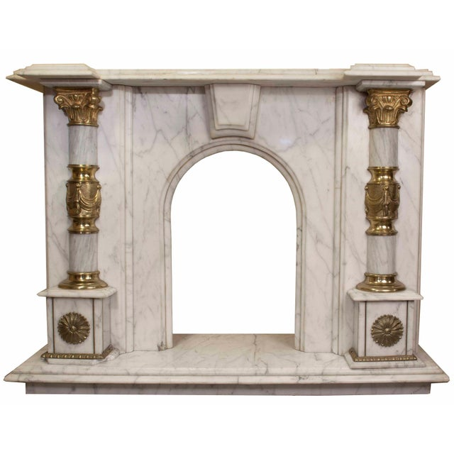 Classic Roman Marble Fireplace For Sale - Image 4 of 4
