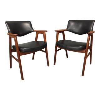 1960s Vintage Erik Kierkegaard Teak and Black Faux Leather Armchairs- A Pair For Sale