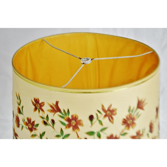 Traditional Vintage Floral Cut Out Drum Lampshade For Sale - Image 3 of 13