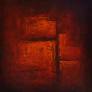 """""""Crevices"""" Contemporary Abstract Expressionist Oil Painting on Canvas For Sale"""