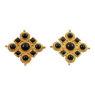 Edouard Rambaud Paris Clip-On Earrings Black Cabochon For Sale