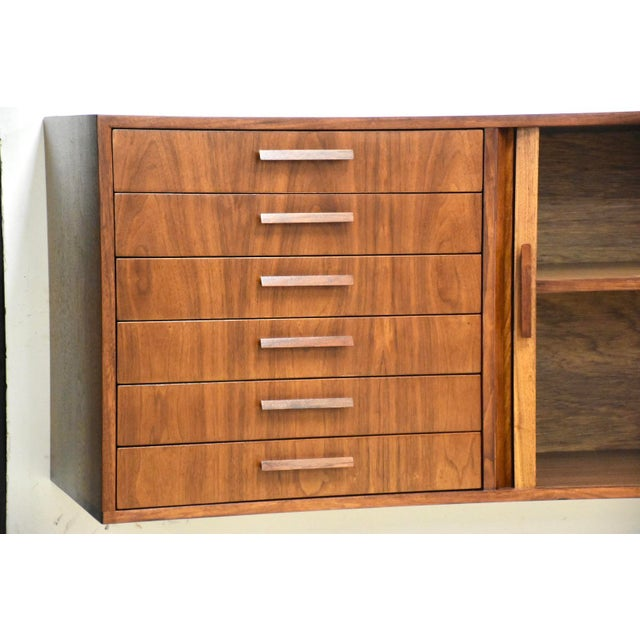 """Mid-Century Modern 108"""" Floating Walnut Tambour Credenza by Furnette For Sale - Image 3 of 12"""