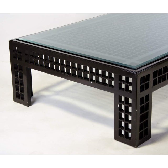 Contemporary Glass Inset Lattice Form Coffee Table For Sale - Image 4 of 11