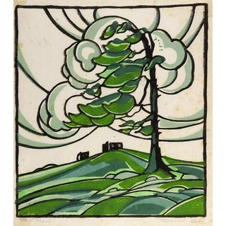 Woodblock Print Landscape in Green For Sale
