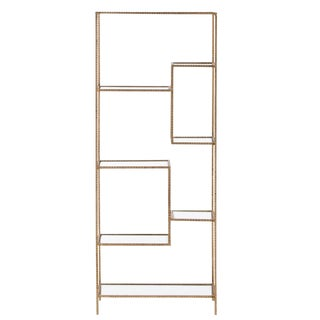 Modern Arteriors Home Worcester Gold Leaf Metal Etagere For Sale
