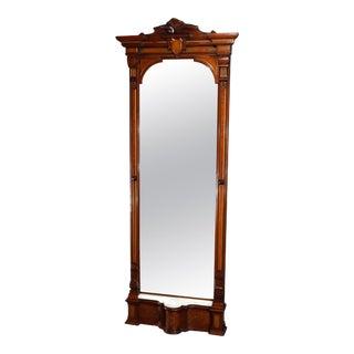 Antique Renaissance Revival Walnut Burl and Marble Parcel-Gilt Pier Mirror For Sale